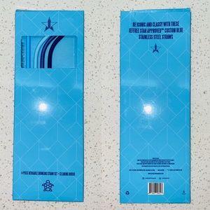 Jeffree Star cosmetics blue metal straw set
